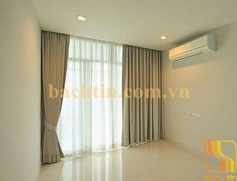 Rèm vải phòng khách trơn màu kem tại Đà Nẵng