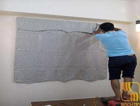 rèm roman màu ghi hoa văn chìm tại đà nẵng
