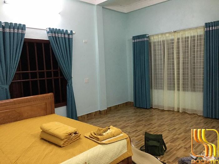 Rèm cửa hai lớp vải bố xanh chống nắng tại Đà Nắng
