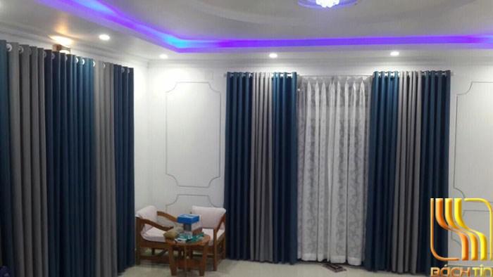 Rèm cửa xanh phối màu kem sọc ở Đà NẵngRèm cửa xanh phối màu kem sọc ở Đà Nẵng