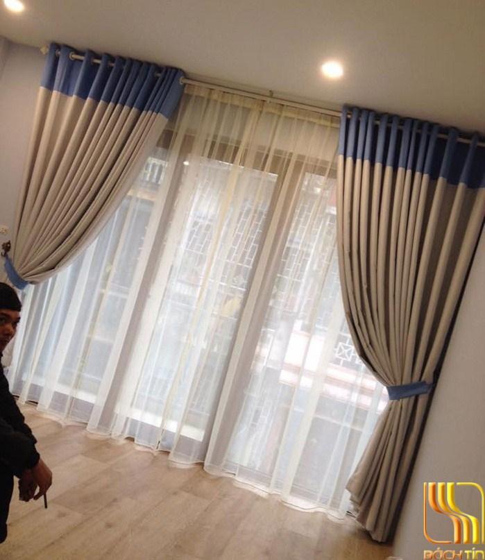 Rèm phòng ngủ kem phối màu xanh tại Đà Nẵng