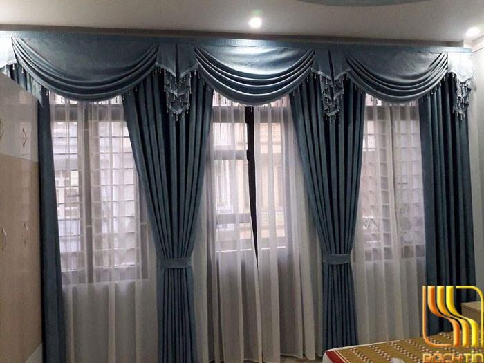 rèm vải trang trí màu xanh chống nắng ở Đà Nẵng