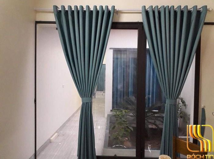 rèm vải trơn 1 màu xanh chống nắng ở Đà Nẵng
