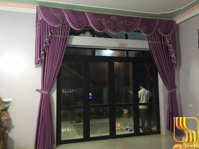 rèm phòng khách yếm võng màu tím đẹp tại Đà Nẵng