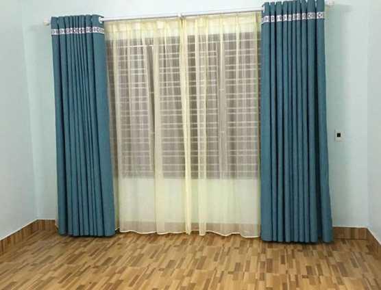 Rèm cửa hai lớp vải bố xanh chống nắng tại Đà Nẵng