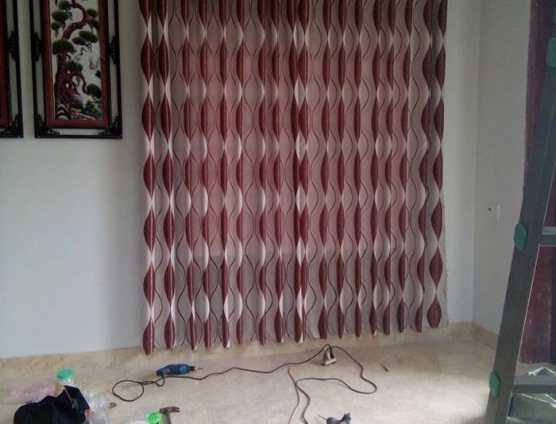 Màn cửa vải gấm đỏ phòng ngủ tại Đà Nẵng