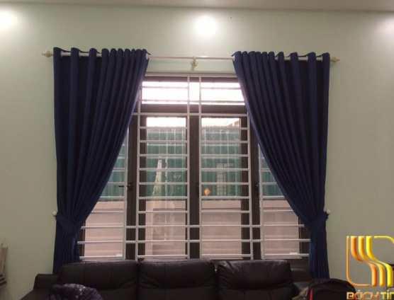 Màn cửa vải gấm trơn màu xanh đen tại Đà Nẵng