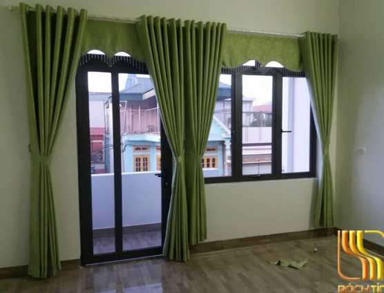 Màn cửa xanh trơn phối màu kem tinh xảo cao cấp tại Đà Nẵng