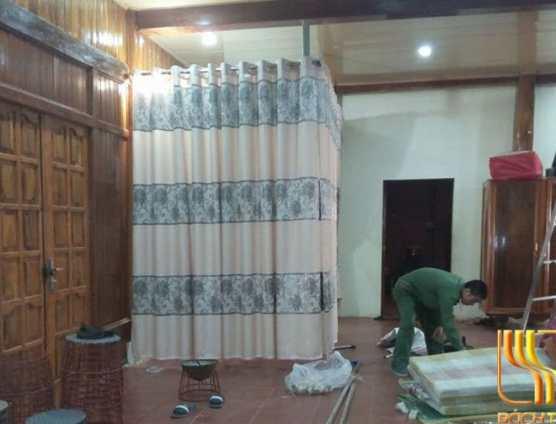 mẫu rèm vải bố hoa kim tuyến sang chảnh ở Đà Nẵng