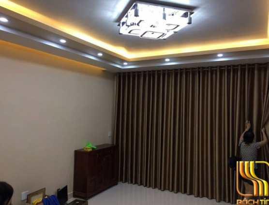 Rèm cửa trơn màu vàng đồng cao cấp ở Đà Nẵng