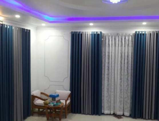 Rèm cửa xanh phối màu kem sọc ở Đà Nẵng