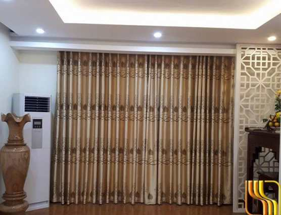 Rèm phòng khách vải gấm hoa màu Đà tại Đà Nẵng