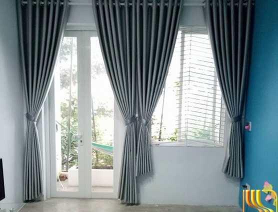Rèm vải một màu cách nhiệt cho phòng ngủ tại Đà Nẵng