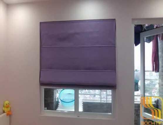 Rèm vải roman trơn màu tím nhạt