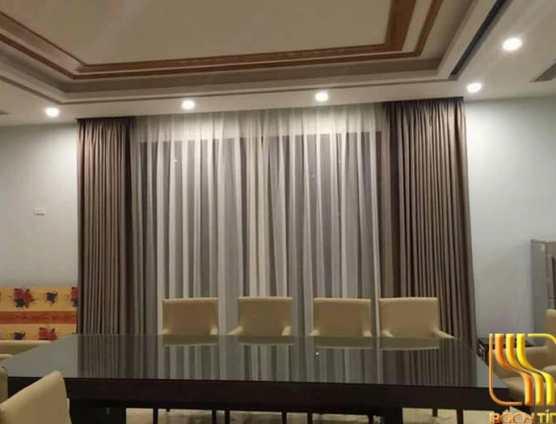 rèm vải trơn 2 lớp cho phòng ăn biệt thự tại Đà Nẵng